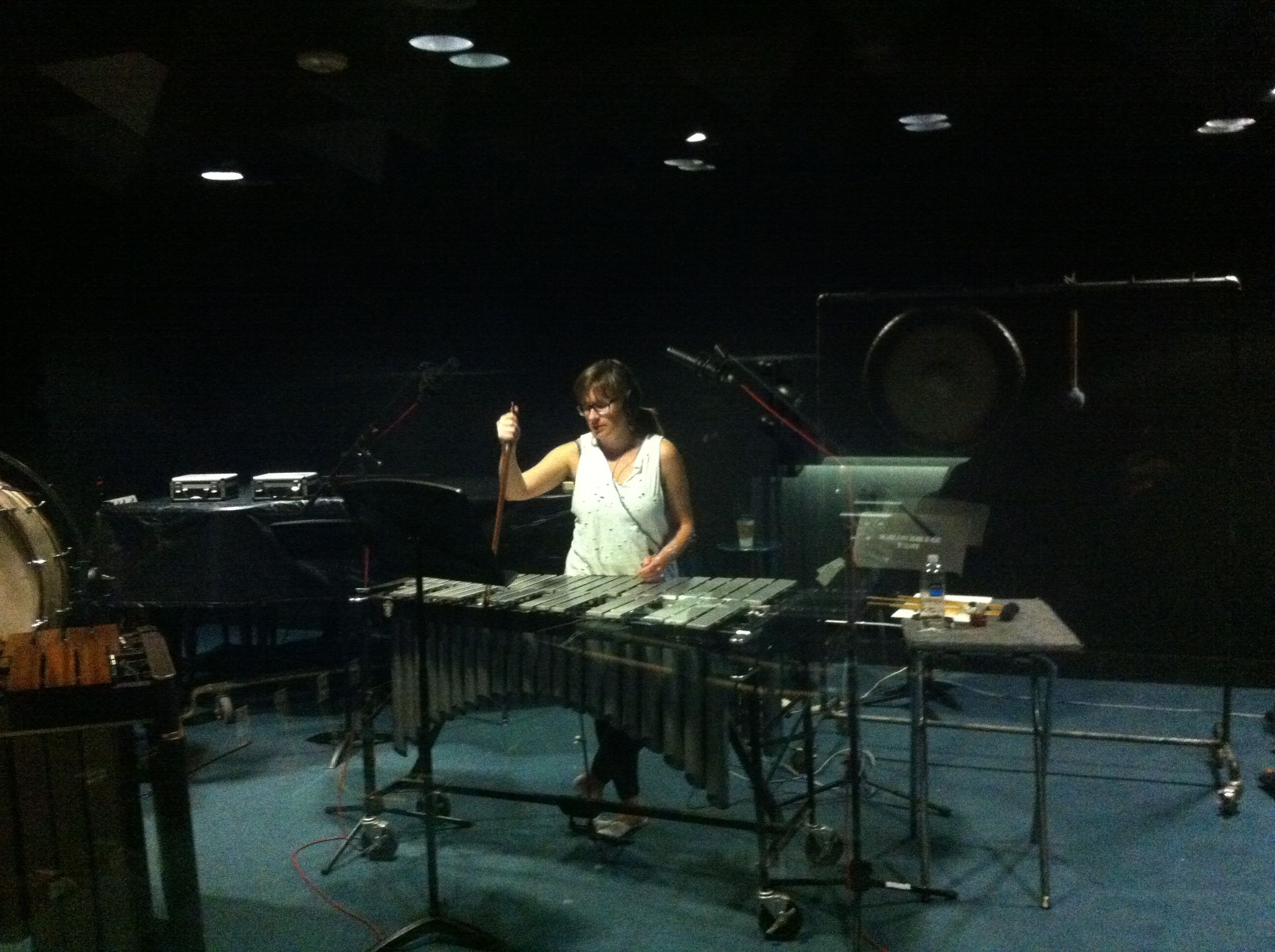 Jenica bowing the vibraphone
